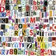 Newspaper clippings alphabet — Stock Photo
