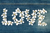 Word love made from flowers — ストック写真