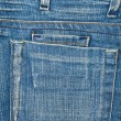 Blue jeans fabric with pocket and label — Stock Photo