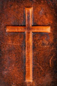 Cross on leather — Stock Photo