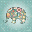 Floral vector elephant — Stock Vector