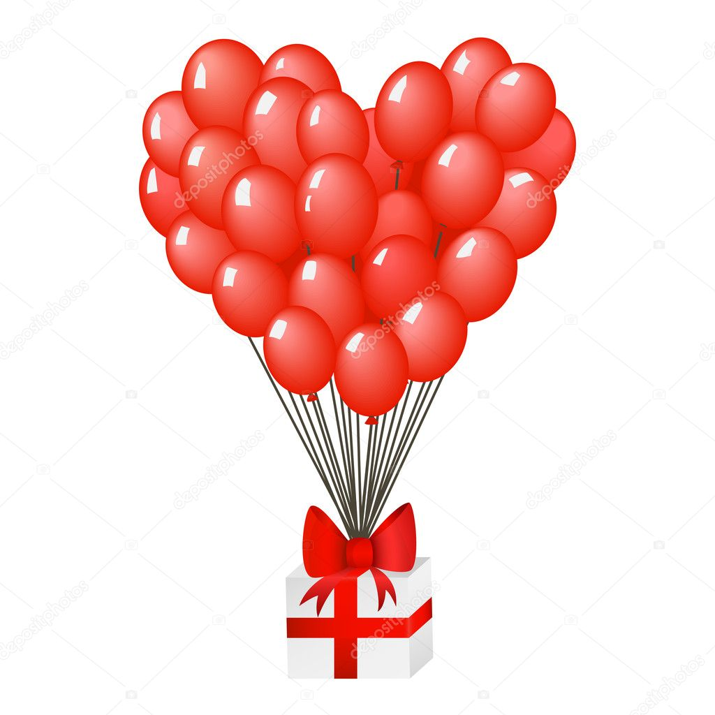 Gift box with red ribbon and heart shaped balloons. EPS 8 vector illustration. — Stock Vector #11368317