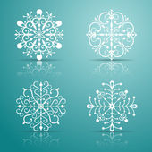Conjunto de flocos de neve decorativa vector — Vetorial Stock