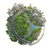 Minyatür globe izole kavramı — Stok fotoğraf