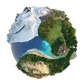 Globe landscapes diversity — Stock Photo