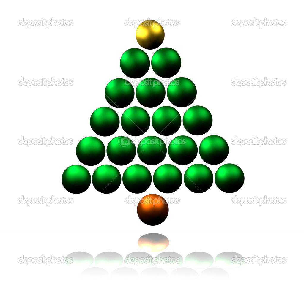 Abstract Christmas Tree made of Shiny Baubles — Stock Photo #11745100