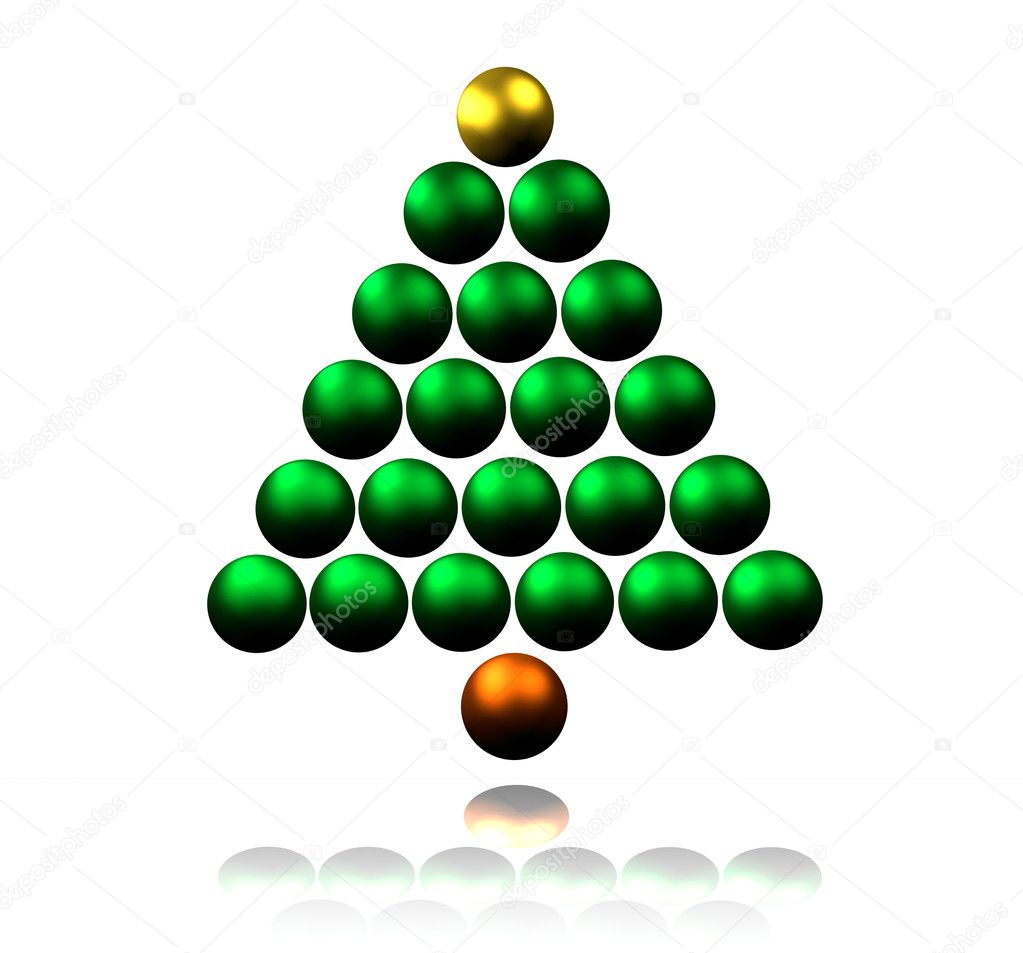 Abstract Christmas Tree made of Shiny Baubles — Lizenzfreies Foto #11745100