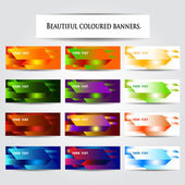 Set beautiful coloured banners. — Stock Vector