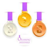 オリンピック メダル。最初に、第二、第三位します。. — ストック写真