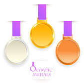 Olympic medals. Gold, silver, bronze. — Stock Vector