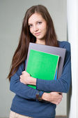 Gorgeous young brunette student girl. — Stock Photo