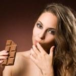 Sensual chocolate girl. — Stock Photo