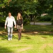 Young couple holding hands in the park. — Stock Photo #11511234