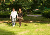 Young couple holding hands in the park. — Stock Photo