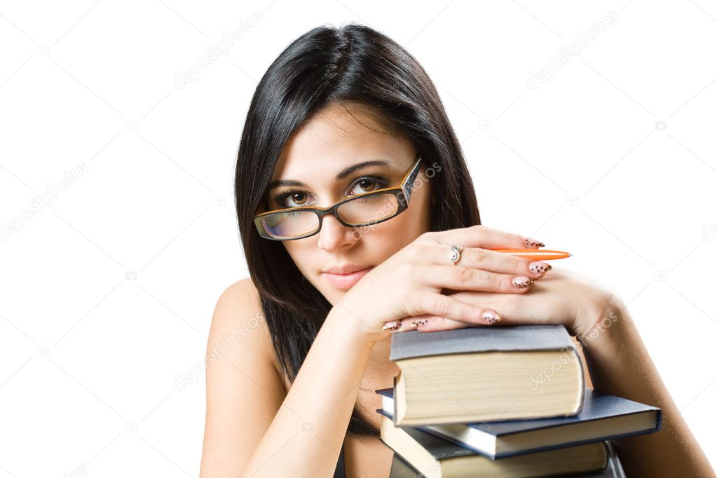 Portrait of a friendly beautiful young student girl.  Stock Photo #11928284