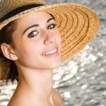 Happy beach brunette portrait. — Stock Photo #12295530