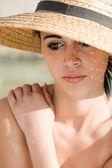 Emotional portrait of summer brunette. — Stock Photo