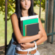 Student beauty outdoors in the park. — Stock Photo