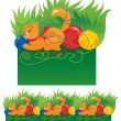 Royalty-Free Stock Vector Image: Seamless border for children - Cat playing with a ball
