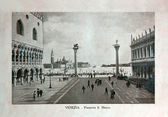 "ITALY - CIRCA 1910: A picture printed in Italy shows image of Saint Marco Square in Venice, Vintage postcards ""Italy"" series, circa 1910 — Stock Photo"