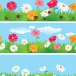Stock Vector: 3 seamless borders with flowers and ladybirds