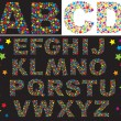Alphabet - letters are made of multicolored stars — Vector de stock #10801491