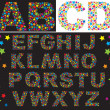 Alphabet - letters are made of multicolored stars — Vettoriale Stock #10801491