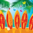 Vettoriale Stock : Summer Holiday Postcard - surf boards with hand drawn text Aloha