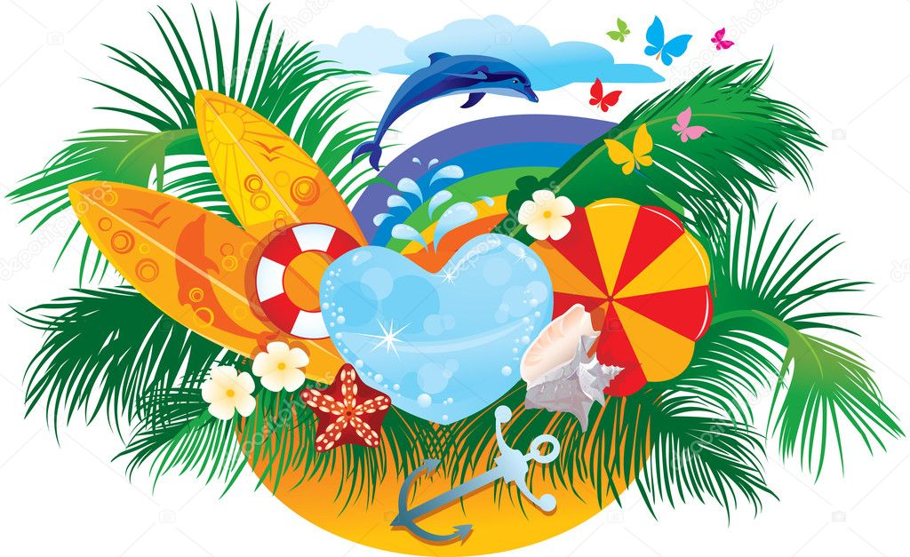 Summer background with palms, shells, surfboards, rainbow and dolphin — Stock Vector #10863787