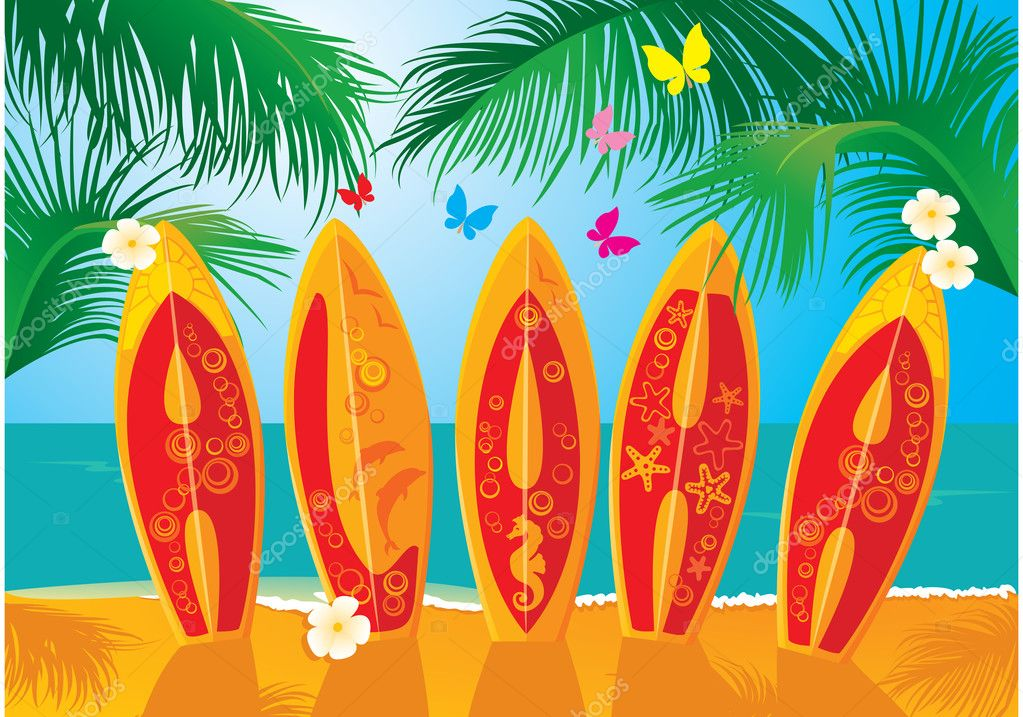 Summer Holiday Postcard - surf boards with hand drawn text Aloha — Grafika wektorowa #10863796