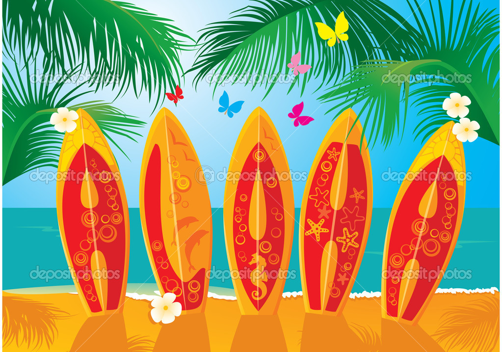 Summer Holiday Postcard - surf boards with hand drawn text Aloha — Imagen vectorial #10863796