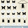 Silhouettes of insects - beetles and butterflies — Stock Vector