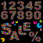 Chiffres papillon, vente de mot et symbole pourcentage - éléments pour la conception de vente d'été — Vecteur