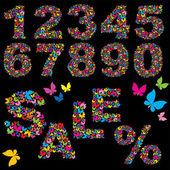 Farfalla numerali, parola vendita e simbolo di percentuale - elementi per la progettazione vendita estate — Vettoriale Stock