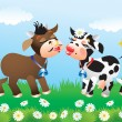 Stock Vector: Cartoon kissing cows in love