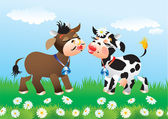 Cartoon kissing cows in love — Stock vektor