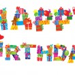 Vector de stock : Happy birthday, letters are made of different gift boxes