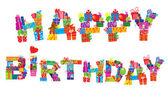 ¡ feliz cumpleaños, las letras están hechas de cajas de regalo diferente — Vector de stock