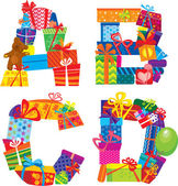 Abcd - anglická abeceda - písmena jsou vyrobeny z dárkových krabic a dárky — Stock vektor