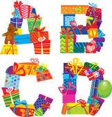 Abcd - engelska alfabetet - bokstäver är gjorda av presentförpackning och presenterar — Stockvektor