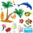 Stock Vector: Summer beach elements set