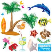 Summer beach elements set — Stock Vector