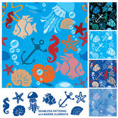 Seamless background with Marine life — Stock Vector
