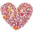 Stok Vektör: Heart is made of corals, isolated on white background
