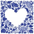 图库矢量图片: White background heart is surrounded of fishes, dolphins, shells, corals, meduses, seahorses