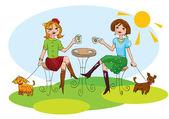 Amigos felices tengan tazas de café y charlar — Vector de stock