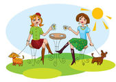 Happy φίλοι έχουν φλιτζάνια καφέ και κουβεντιάζοντας — Διανυσματικό Αρχείο