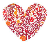 心是用珊瑚、 孤立在白色背景上 — 图库矢量图片