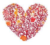 Corazón está hecho de corales, aislados sobre fondo blanco — Vector de stock