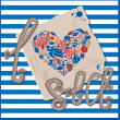 Postcard - I Love Sea - on stripped background — Imagen vectorial